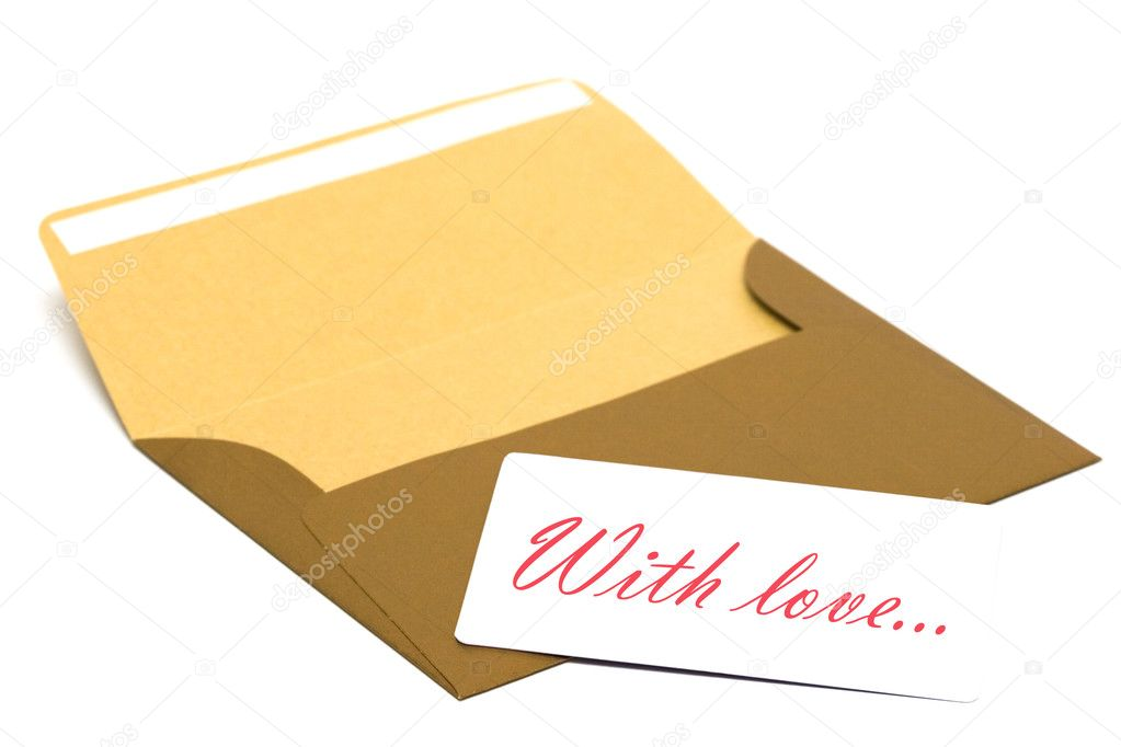 Envelope with congratulatory card isolated on white background   Stock Photo #2795654