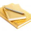 Золотой ноутбук с серебряной ручкой — Стоковое фото