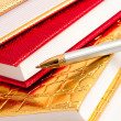 Golden notebook with silver pen — Stock Photo
