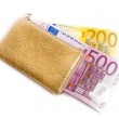 Wallet with many euros isolated — Stock Photo
