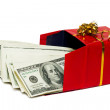 Stack of dollars in red gift box — Stock Photo