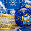 Blue festive decoration with ribbon - Stockfoto