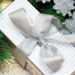 Silver gift box with Christmas tree - Stock Photo