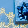 Blue gift box with bow - Stockfoto