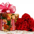 Gift box with rose — Stock Photo