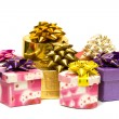 Many gift boxes isolated — Stock Photo