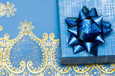 Blue gift box with bow — Foto Stock