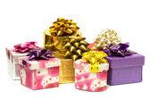 Many gift boxes isolated — Stock Photo