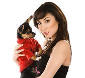 Beautiful woman with little dog — Stock Photo