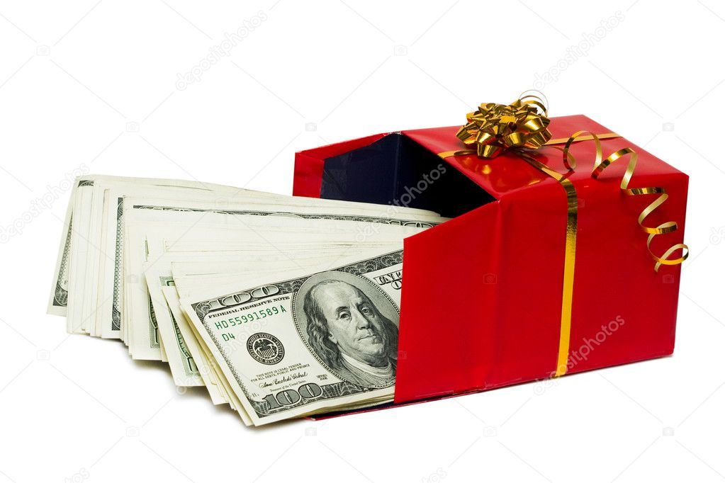 Stack of dollars in red gift box   Stock Photo #2820626