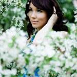 Tender girl in the garden — Stock Photo