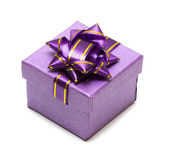 Violet gift box isolated — Stock Photo