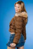 Pretty girl with fur on coat — Stock Photo