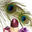 Easter egg with eye of peacock - Zdjęcie stockowe