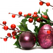 Stock Photo: Easter egg with red berries