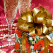 Gift box with pearls and glass — Stock Photo