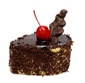 Chocolate cake with red cherry — Stock Photo