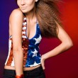 American woman in colored background — Stock Photo #3579996