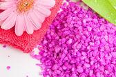 Spa essentials (bath salt and flower) — Stock Photo