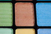 Brown and blue make-up eyeshadows — Stock Photo