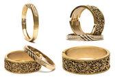 Golden bracelets isolated on white background — Stock Photo