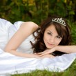 Beautiful woman in the fairy-tale forest — Stock Photo