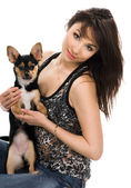 Beautiful woman with little dog — Stock Photo