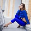 Beautiful woman in blue suit — Foto de Stock