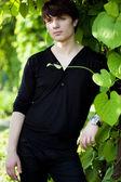 Attractive man in black shirt — Stock Photo