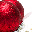 Christmas decoration balls with ribbon - Foto de Stock  