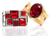Bracelets with ruby isolated on white background — Stock Photo