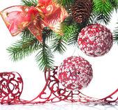 Vánoční dekorace na jedle — Stock fotografie