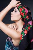 Moda mulher com chapéu preto — Foto Stock