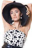 Mulher elegante com um chapéu — Foto Stock