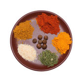 Many different spices in plate — Stock Photo