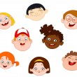 Kids faces — Stock Vector
