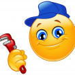 Plumber emoticon - Stock Vector