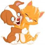 Puppy and kitten — Stock Vector