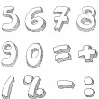 Numbers hand written — Vector de stock