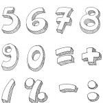 napisany ręcznie numery — Wektor stockowy
