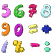 Colorful numbers hand written — Stock Vector