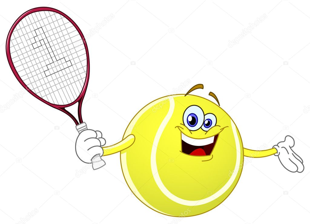 Cartoon tennis ball holding his racket  Stock Vector #3684118