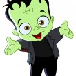 Stock Vector: Frankenstein kid
