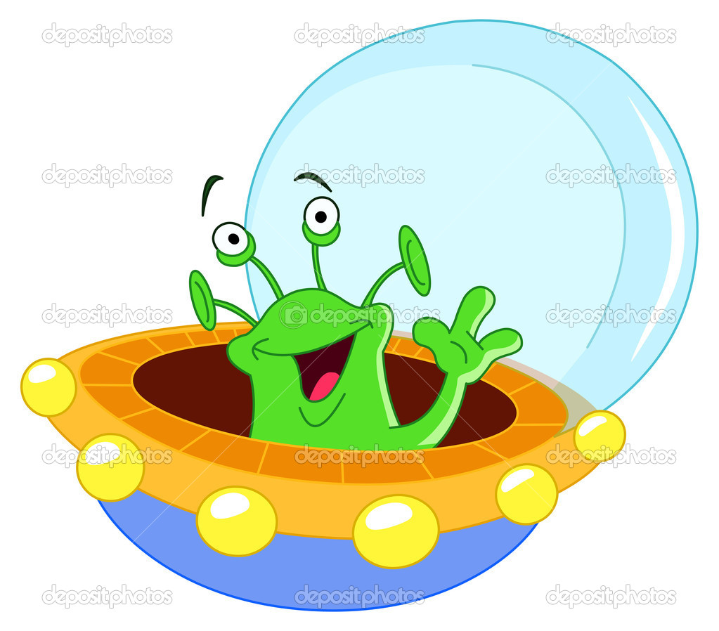 Cartoon alien waving hello — Stock Vector #3718193