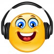 Headphone emoticon - Stock Vector