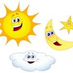 Sun moon star and cloud — Stock Vector