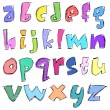 Colorful sketchy small letters - Stock Vector