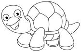 Outlined turtle — Stock Vector