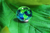 Earth in waterdrop reflection on green leaf — Stock Photo