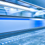 Move train on underground station — Stock Photo #3046244